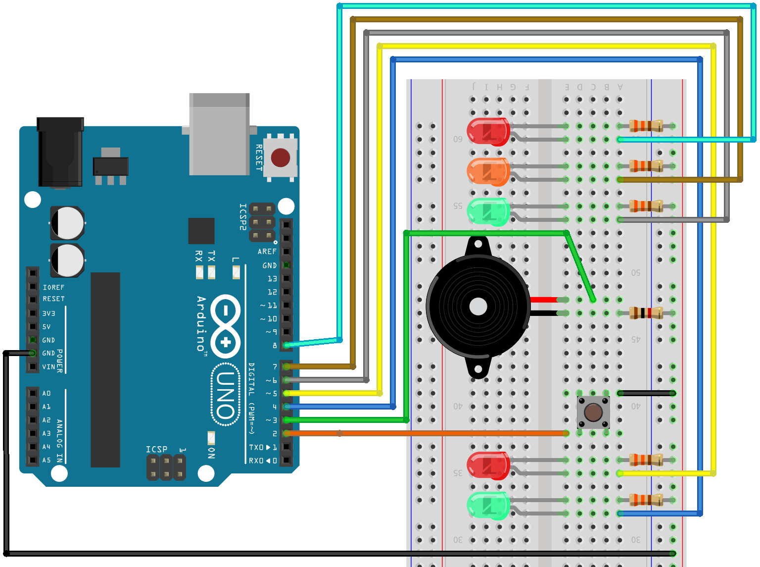 PWM colours breadboard layout